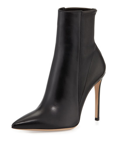 Gianvito Rossi Point-Toe Leather Bootie, Black