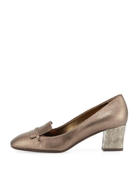 Embossed Block-Heel Loafer