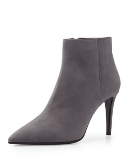 Prada Chamois Leather Side Zip Bootie, Fog (Nebbia)