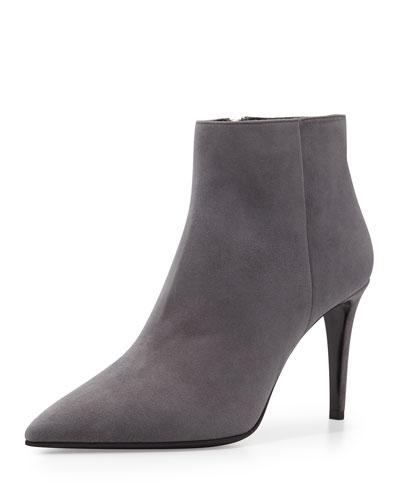 Prada Chamois Leather Side Zip Bootie, Fog (Nebbia)