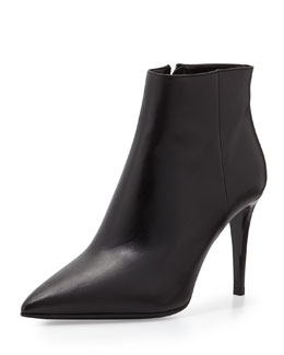 Prada Soft Leather Side Zip Bootie, Black (Nero)