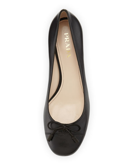 Napa Leather Bow Ballet Pump, Black (Nero)