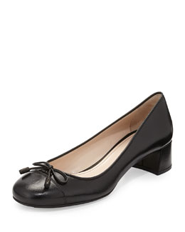Prada Napa Leather Bow Ballet Pump, Black (Nero)