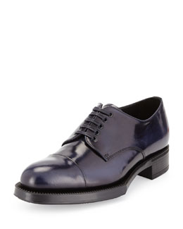 Prada Spazzolato Cap-Toe Lace-Up Shoe