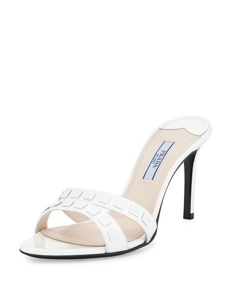 Vernice Tonal-Stud Slide Sandal