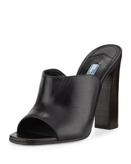 Prada Calfskin Wide-Band Sandal, Nero (Black)