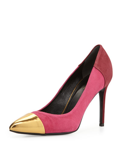 Gucci Bicolor Suede Cap-Toe Pump, Pink