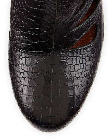 Acadia Snake-Embossed Cutout Bootie, Black