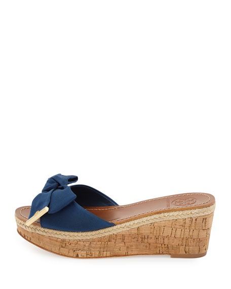 Penny Bow Wedge Slide, Navy