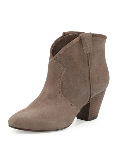 Ash Jalouse Suede Western Ankle Bootie, Taupe