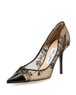 Jimmy Choo Alias Lace Pointed-Toe Pump, Black