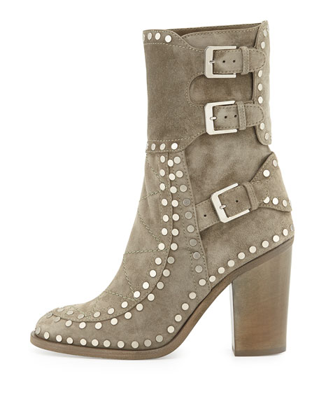 Gehry Studded Suede Mid-Calf Boot, Beige