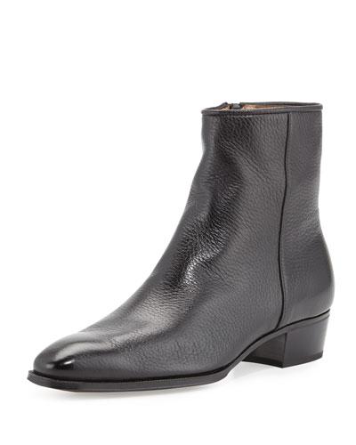 Gravati Leather Side-Zip Ankle Boot, Black