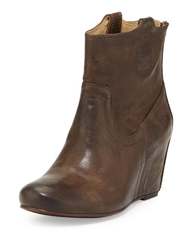 Frye Carson Leather Wedge Bootie, Taupe