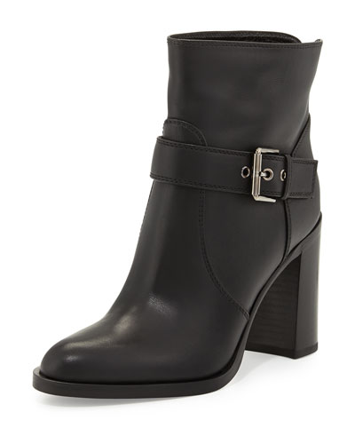 Gianvito Rossi Belted Leather Bootie, Black