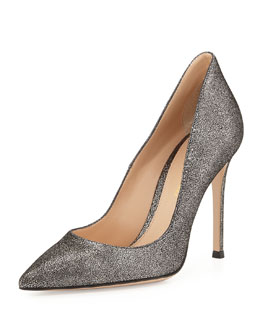 Gianvito Rossi Crackled Metallic Point-Toe Pump, Silver