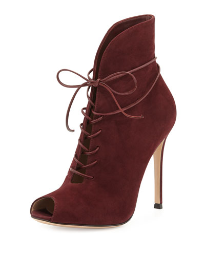 Gianvito Rossi Suede Peep-Toe Lace-Up Bootie, Burgundy