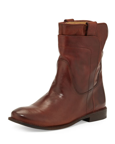 Frye Paige Leather Short Boot, Redwood