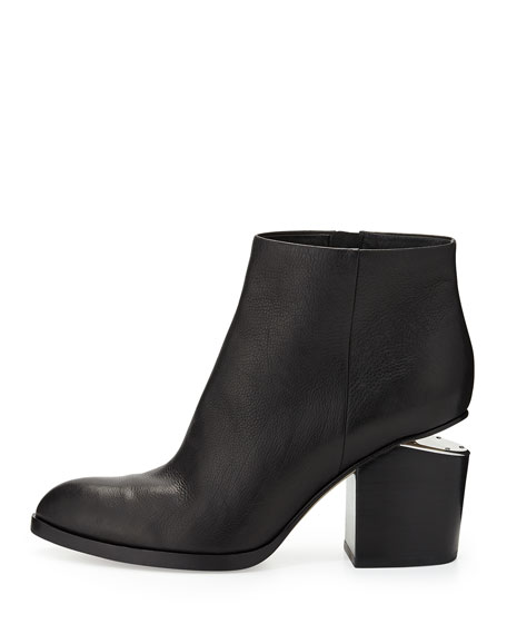 Leather Bootie with Tilt-Effect Heel, Black
