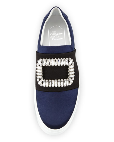 Patent Strass Buckle Satin Sneaker, Navy/Black