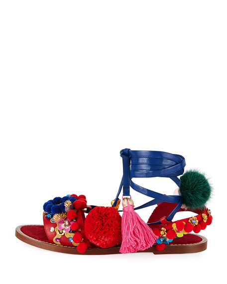 Multicolor Embellished Flat Sandal