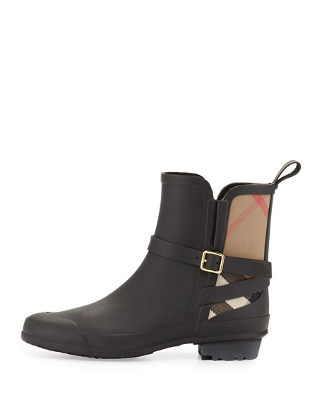 Riddlestone Check Short Rain Boot, Black