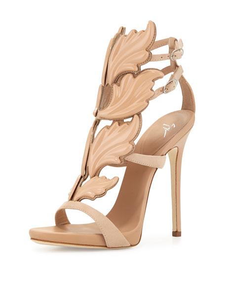 Giuseppe Zanotti Wings Suede High-Heel Sandal, Fondotina