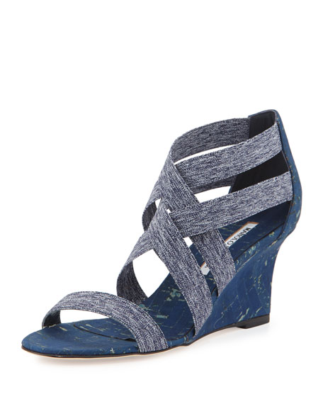 Manolo Blahnik Glassa Strappy Cork Wedge Sandal, Denim