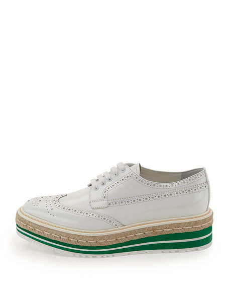 Platform Brogue-Trim Leather Oxford, White (Bianco)