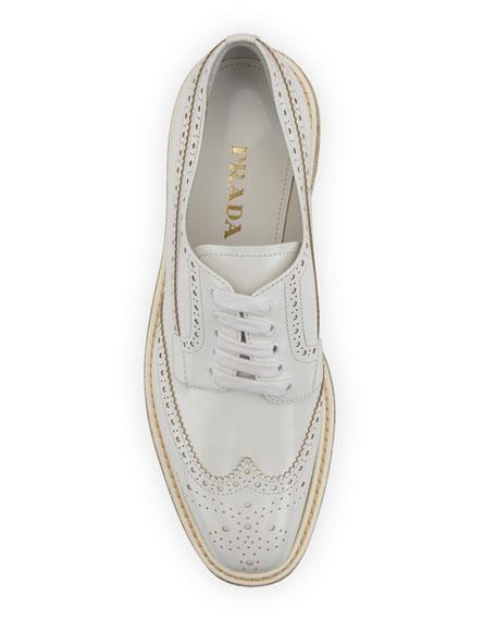 Platform Brogue-Trim Leather Oxford, White (Bianco)