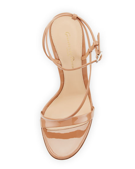 Carlyle Patent Strappy 105mm Sandal, Neutral