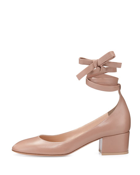 Leather Ankle-Wrap 40mm Pump, Beige