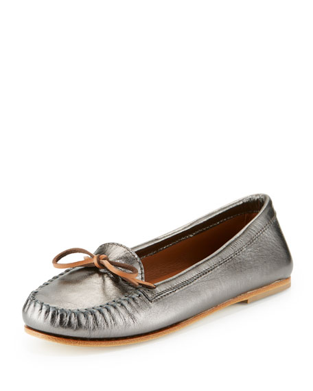 Tomas Maier Vasbo Leather Bow Moccasin, Antique Brass
