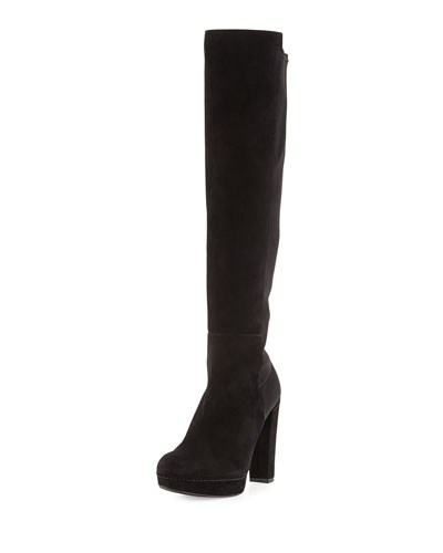 Demistrong Suede Over-the-Knee Boot, Black