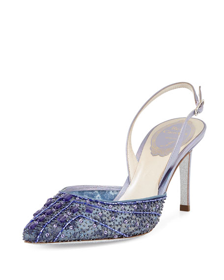 Beaded 75mm Slingback Pump