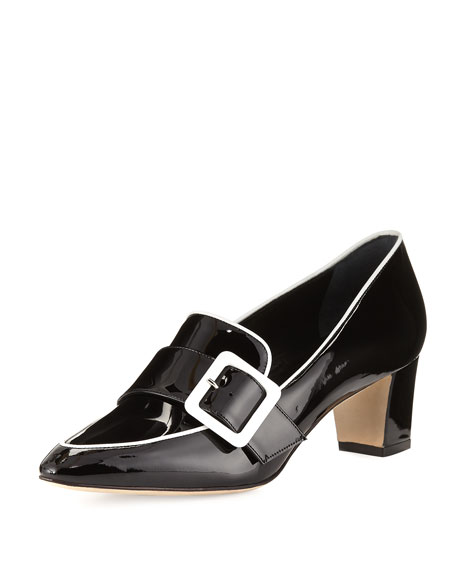 Manolo Blahnik Teno Patent Buckle Loafer, Black/White