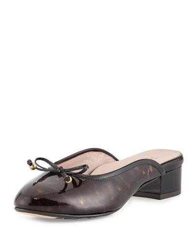 Faigel Low-Heel Leather Mule, Black