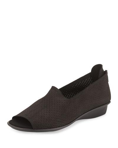 Eadan Open-Toe Demi-Wedge Sandal, Black