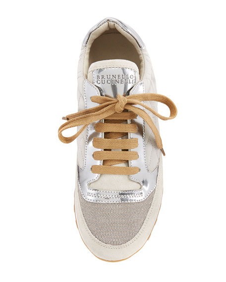 Monili-Panel Embroidered Sneaker, Silver