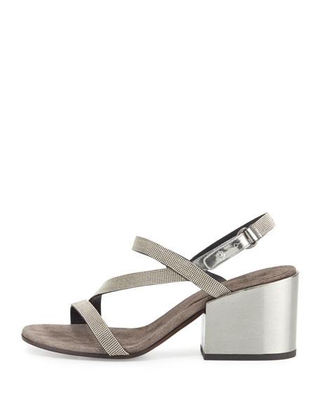 Asymmetric Monili 60mm Sandal, Silver