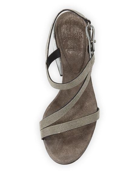 Asymmetric Monili 60mm Sandals, Silver