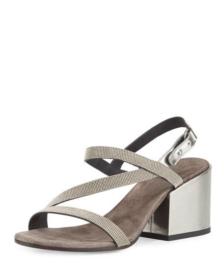 Brunello Cucinelli Asymmetric Monili 60mm Sandal, Silver