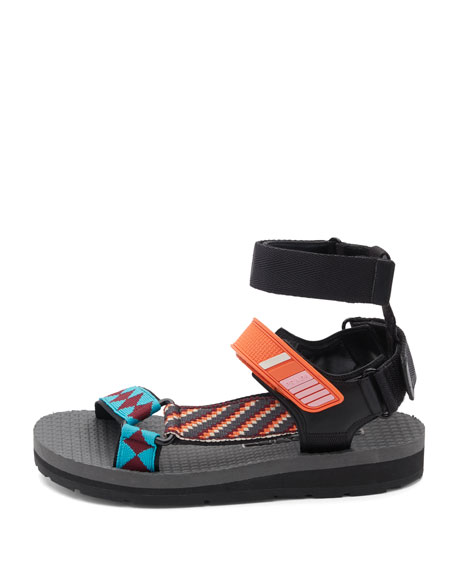 Printed Grip-Strap Sandals, Orange/Multi Pattern