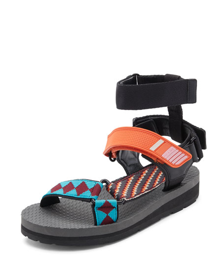 Prada Linea Rossa Printed Grip-Strap Sandal, Orange/Multi Pattern