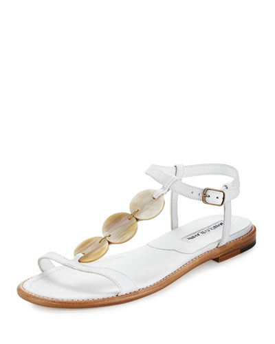 Fonga Circle Leather Flat Thong Sandal, White
