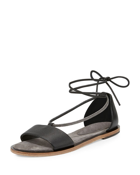 Brunello Cucinelli Monili Ankle-Wrap Sandal, Black