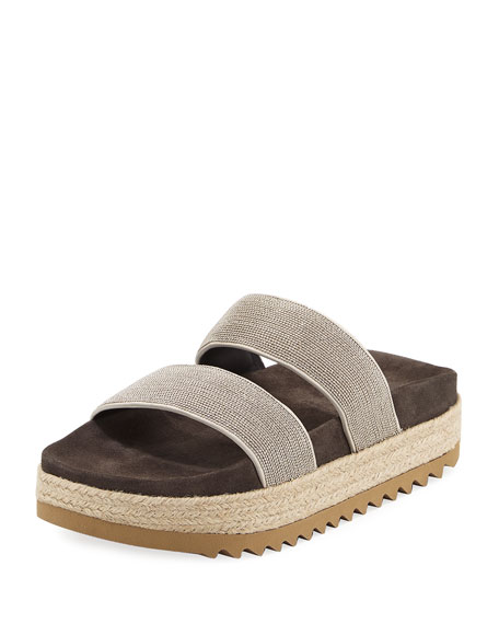 Brunello Cucinelli Monili Two-Band Espadrille Slide Sandal,