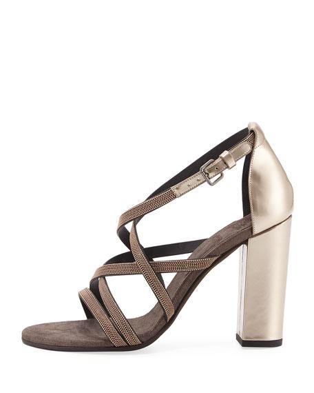 Monili-Trim Strappy Sandal, Rose Gold