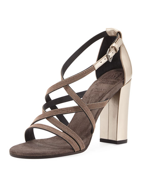 Brunello Cucinelli Monili-Trim Strappy Sandal, Rose Gold