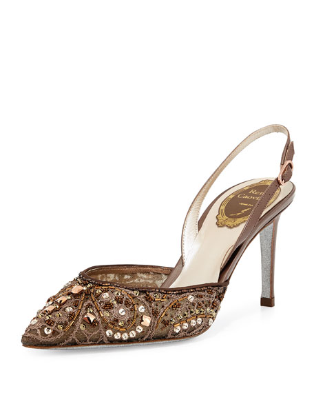 Rene Caovilla Beaded 75mm Slingback Pump